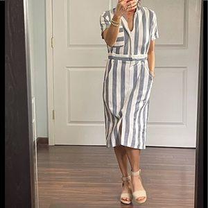 Asos Cotton Stripe V Neck Shirt Dress size 6